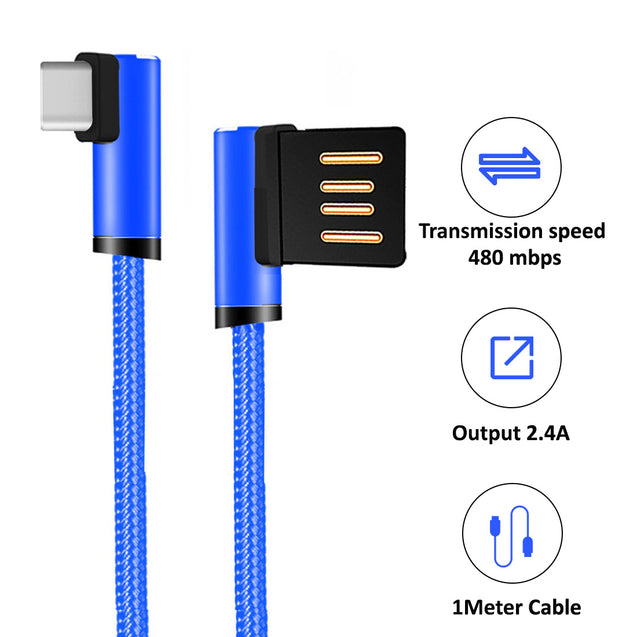 PTron Solero USB To Type C Data Cable - L Shape Design Charging Cable For All Type C Smartphones