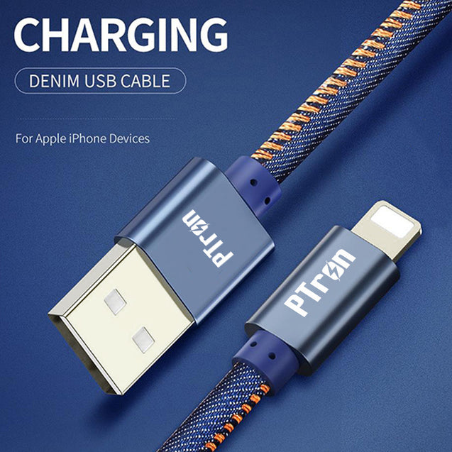 PTron Indigo USB Lightning Cable Jeans Cloth Sync Data Cable Charger For iOS Smartphones (Blue)