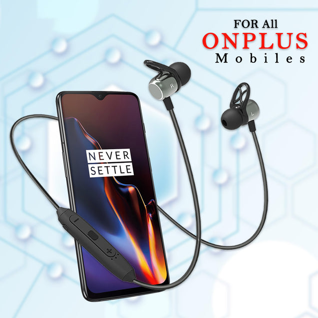 pTron Avento Plus Bluetooth 5.0 In-Ear Magnetic Headphones for All OnePlus Smartphones - (Grey/Black)