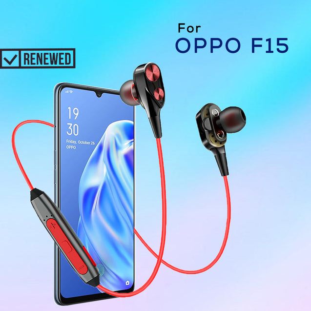 Refurbished- PTron BT Boom 4D Bluetooth Headphones With Mic For Oppo F15 (Red & Black)