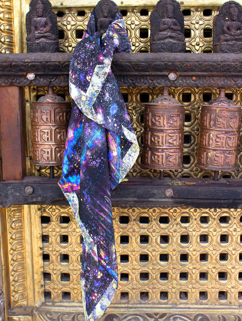 NAGA RAINBOW SILK SCARF : NOIR YELLOW