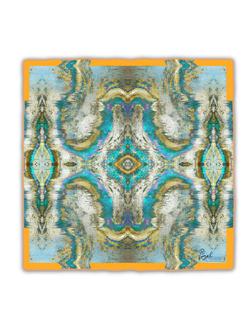 SACRED GEOMETRY SILK SCARF : ORANGE