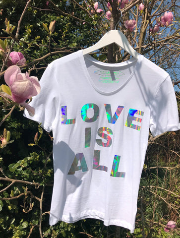 SONYA ROTHWELL HOLOGRAPHIC 'LOVE IS ALL' T-SHIRT