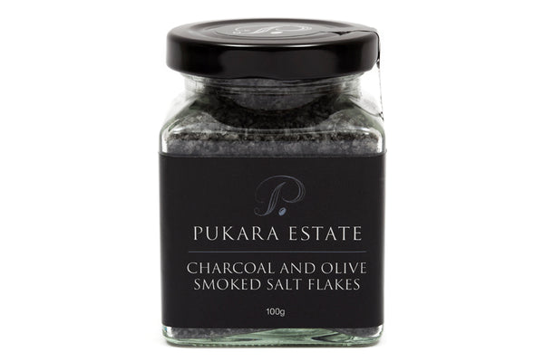 Charcoal and Olive Smoked Salt Flakes