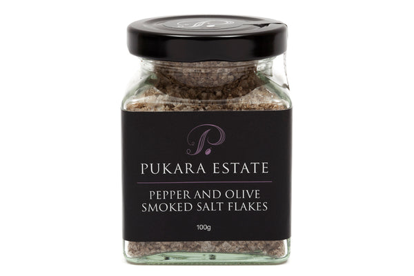 Pepper and Olive Smoked Salt Flakes