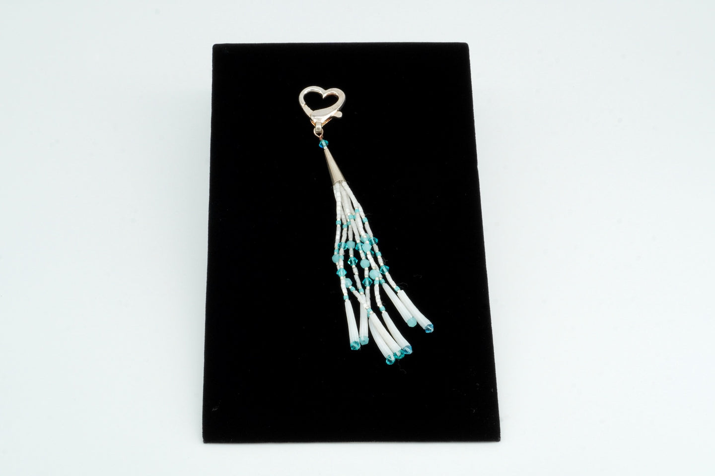 White Beaded Keychain by Florence Moses