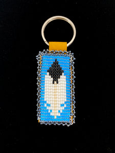 Beaded Feather Keychains by Dolores Scheffen
