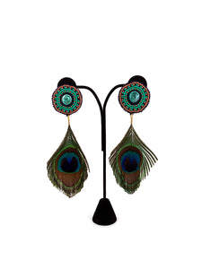 Beaded Peacock Feather Earrings by Tammy Wood
