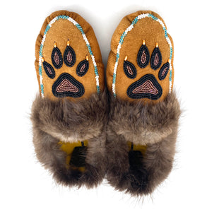 Wolf Print Beaded Slippers by Gertie Tom