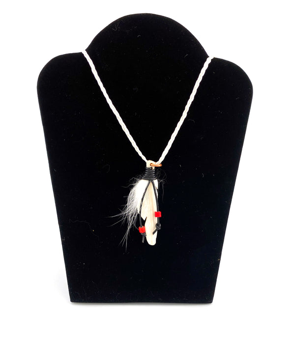 Caribou Feather Necklace with Fox Fur by Dennis Shorty