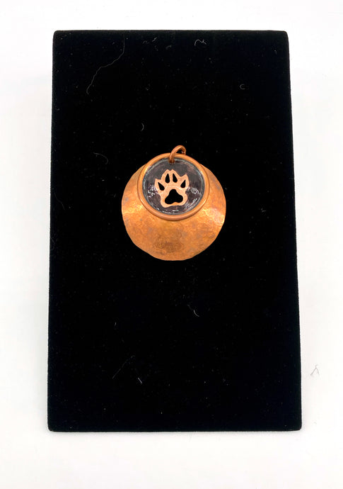 Copper Wolf Track Pendant by Dennis Shorty