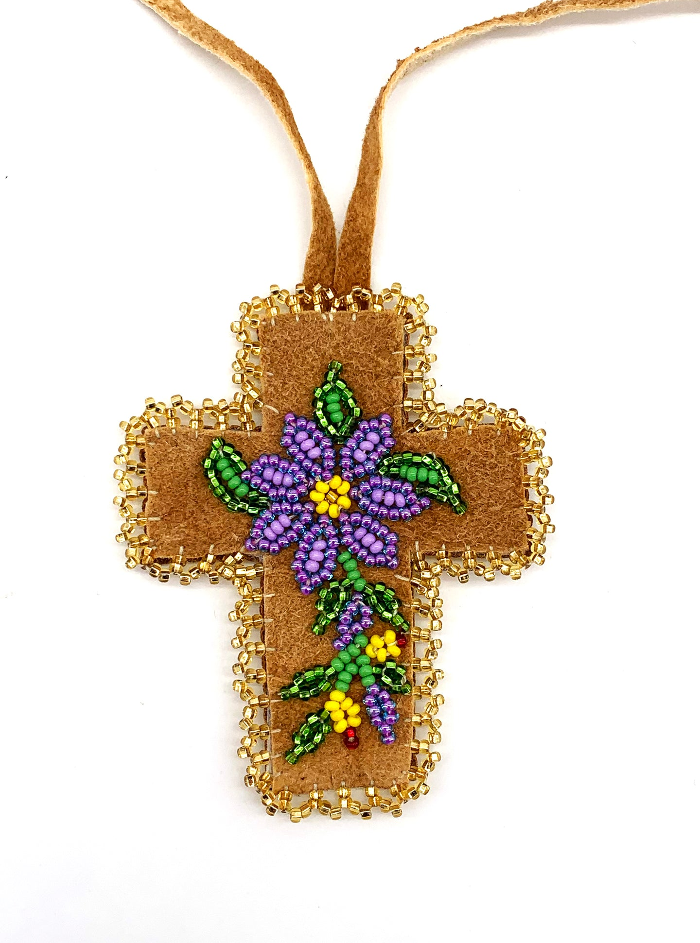 Various Home-Tanned Beaded Cross by Diane Smith
