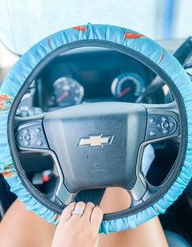 Turquoise Stone Steering Wheel Cover
