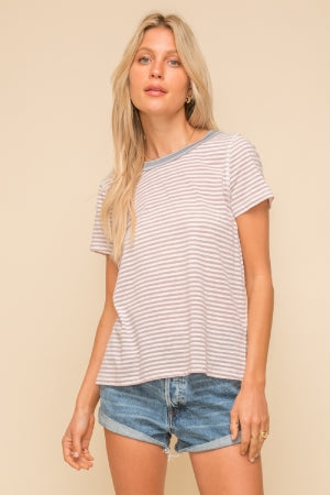 Contrast Neckline Striped Tee