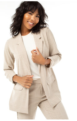 Tan Checked Boyfriend Blazer