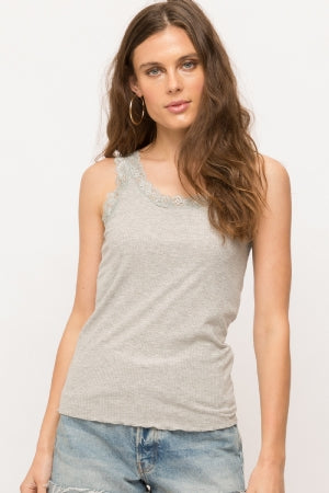 Lace Edge Ribbed Cami Tank