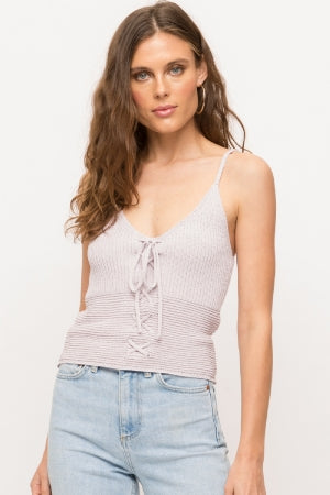 Lace Up Sweater Cami