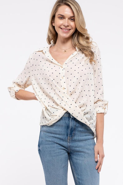 Polka Dot Crossover Front Top