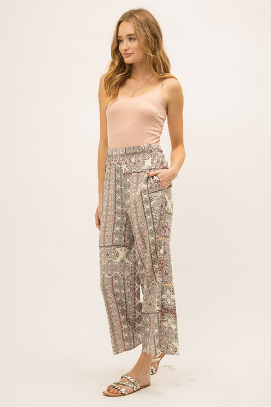 Patchwork Wide Leg Pant