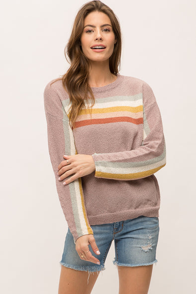 Striped Sleeve Spring Sweater