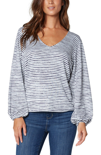 Striped Twist Back Knit Top