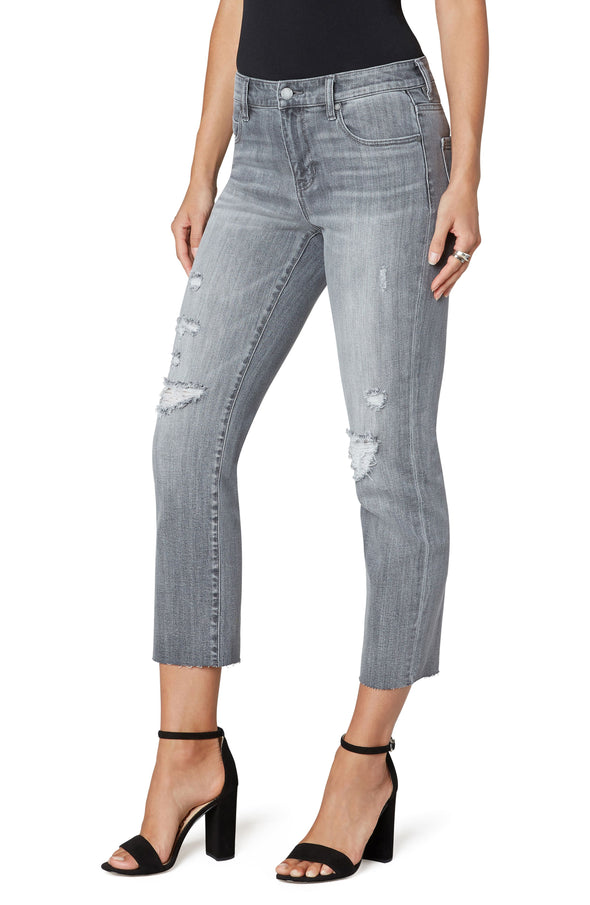 Distressed Grey Crop Straight Jean