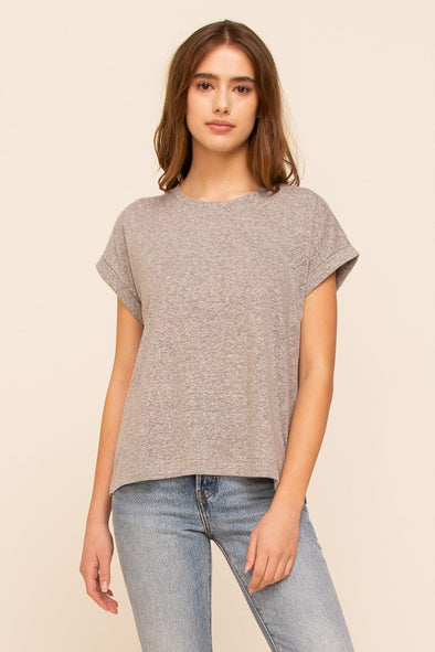 Cuffed Sleeve Basic Tee