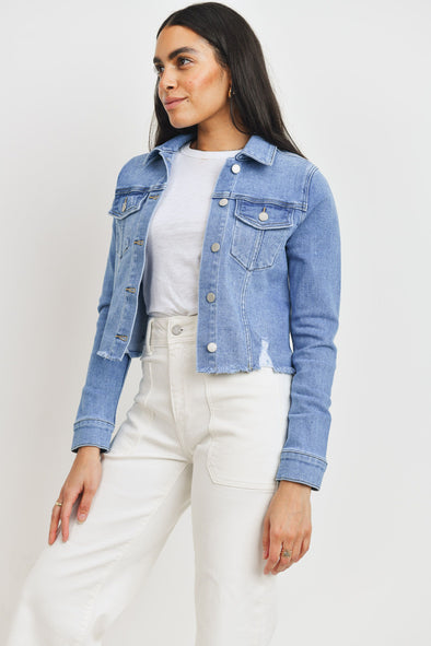 Cropped + Distressed Denim Jacket