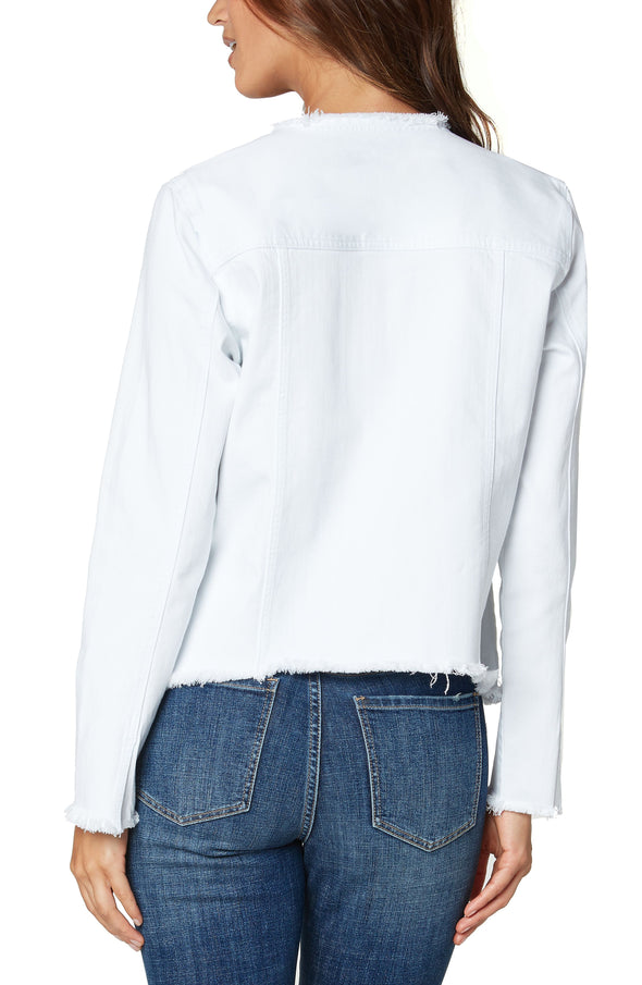 Collarless White Denim Jacket