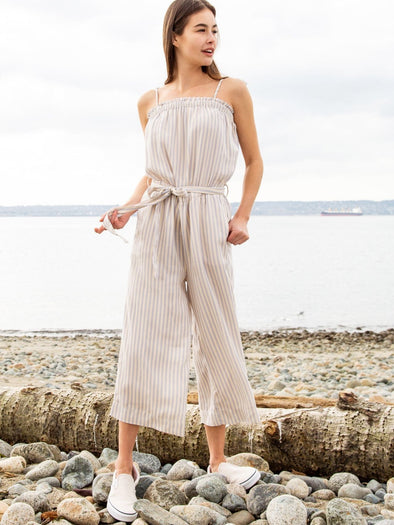 Tie Strap Striped Jumpsuit