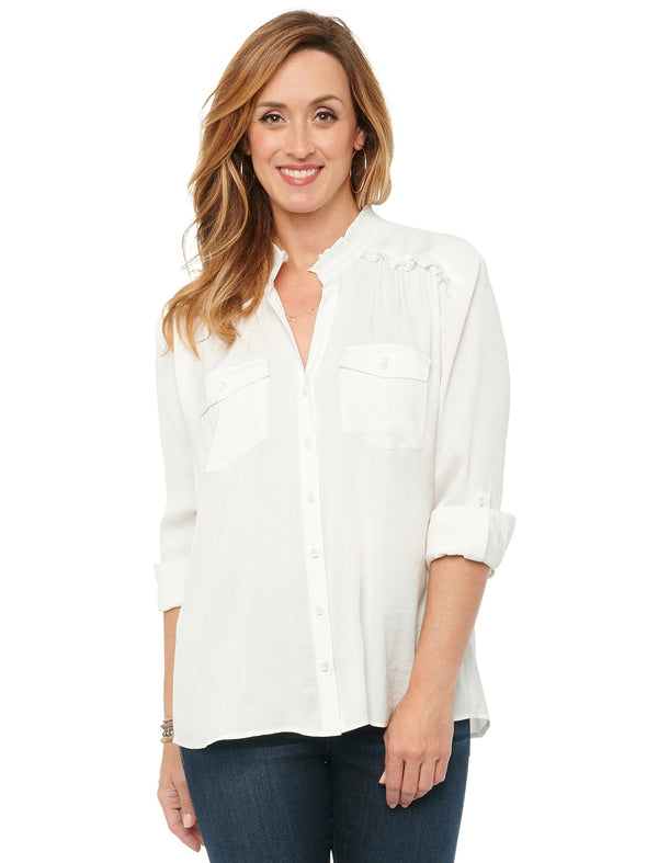 Ruffle Collar Button Down Blouse