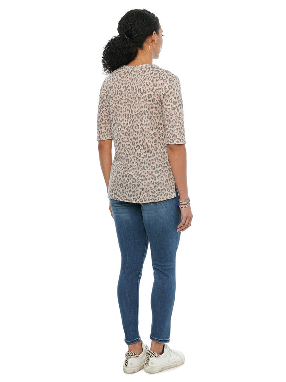 Leopard Elbow Tee with Sparkle Trim