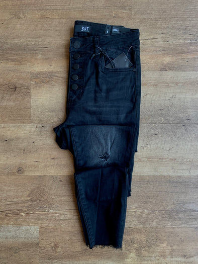 Button Front Washed Black Denim