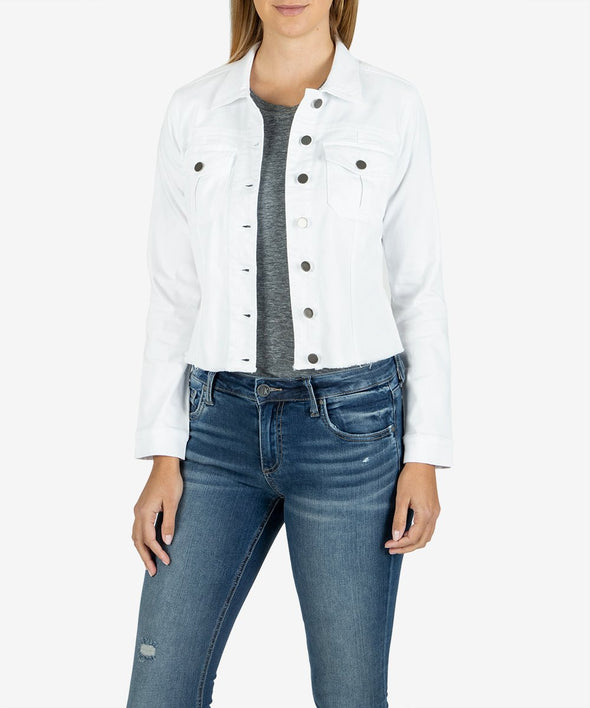 Raw Hem White Denim Jacket
