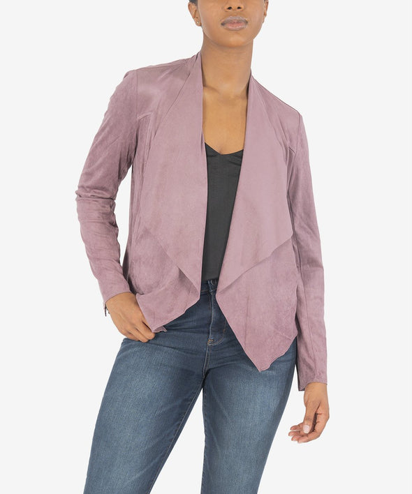 Draped Faux Suede Jacket