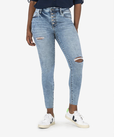 Button Front Distressed Denim