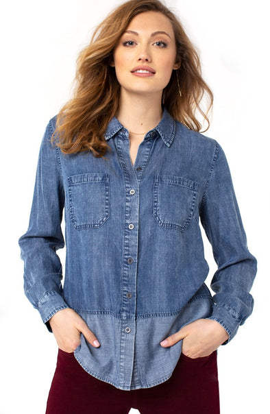 Two Toned Chambray Top