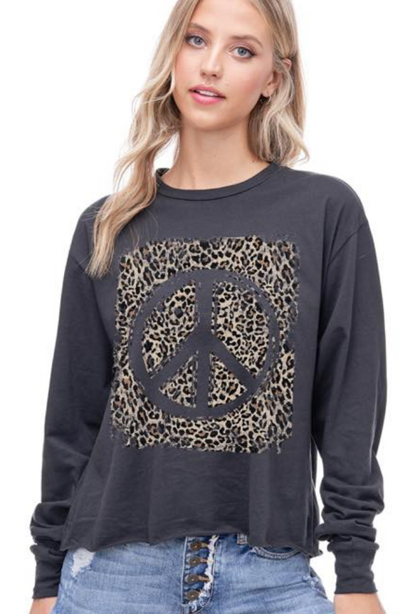 Peace & Leopard Graphic Tee