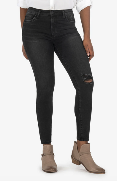 Washed Black Distressed Skinny