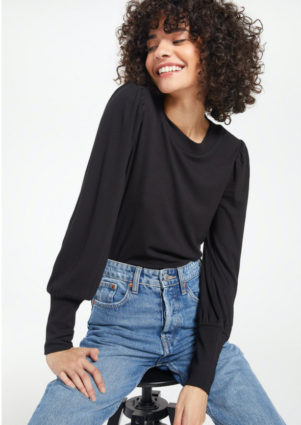 Puffed Sleeve Ribbed Top