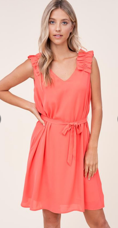 Ruffle Strap Tie Belt Dress