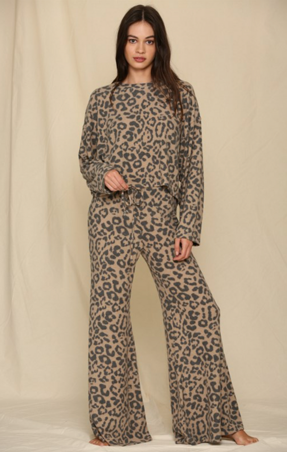 Leopard Wide Leg Lounge Pants