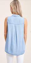 Classic Sleeveless Chambray Shirt