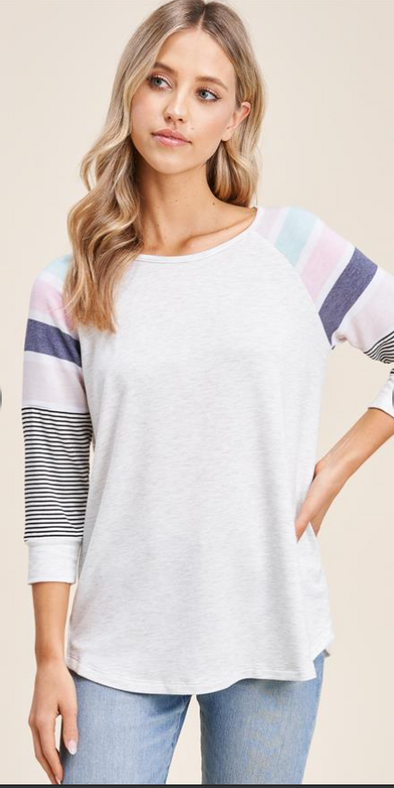 Striped Color Blocked Baseball Tee