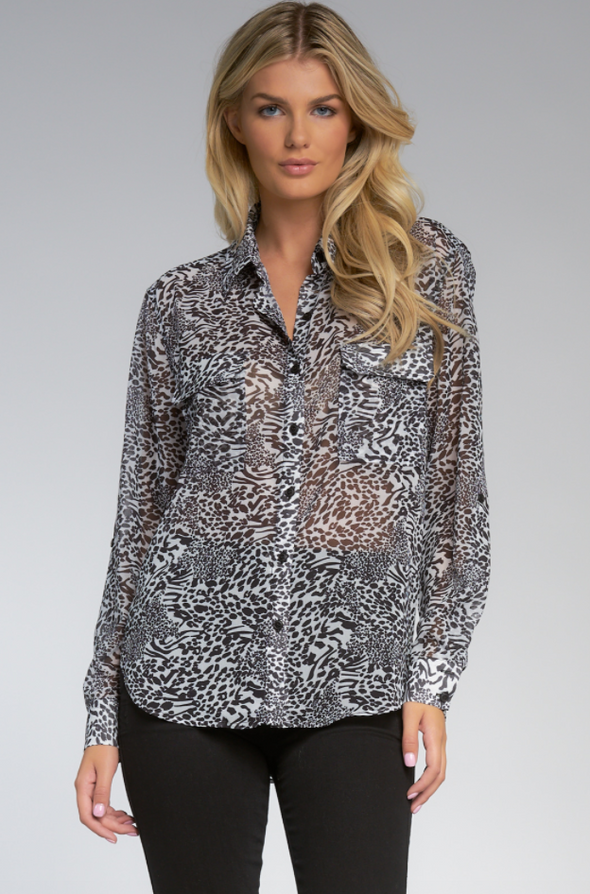 Animal Print Button Front Top