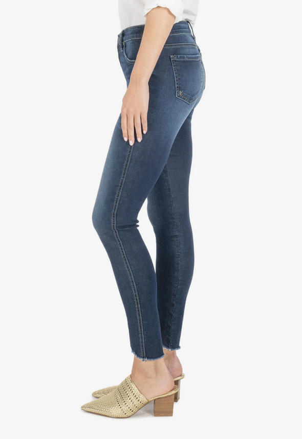 High Rise Curved Hem Skinny Jean
