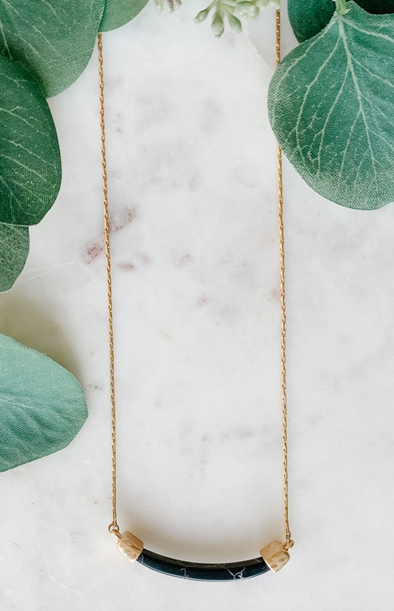 Curved Stone Dainty Necklace
