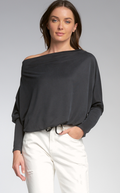 Off-the-Shoulder Drawstring Waist Top
