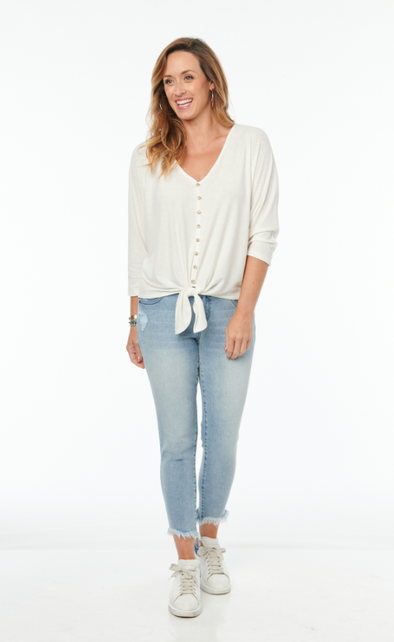 Ribbed Button Front Knit Top
