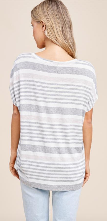 Relaxed Neutral Striped Top